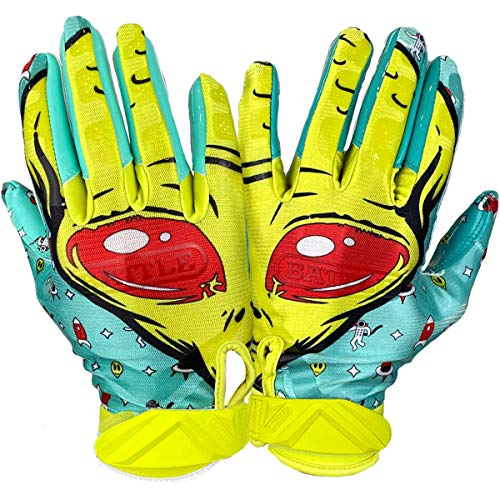 Battle Sports Alien Ultra-Stick Football Receiver Gloves for Youth and Adults (Youth Large)