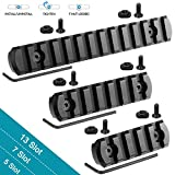 Compatible with M-Lok Picatinny Rail 13-Slot 7-Slot 5-Slot Mlok Aluminum Picatinny Rails Section for M LOK Systems with 7 T-Nuts & 7 Screws & 3 Allen Wrench 3 Pack - Black