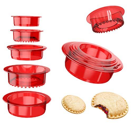 5 PCS Sandwich Maker Sets Sandwich Cutter Press, YUMKT Uncrustable Pancake Cookie Bread Sandwich Cutter and Sealer for Kids Girls Boys, Sandwich Makers & Panini Presses (Red)