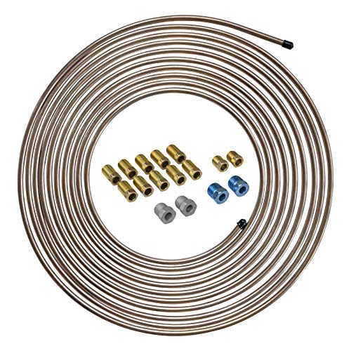 4LIFETIMELINES 25 ft 1/4 True Copper-Nickel Alloy Non-Magnetic Brake Line Replacement Tubing Coil and Fitting Kit, 16 Fittings Included, Inverted Flare, SAE Thread, 0.028 inch wall thickness