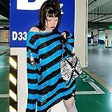WRYIPSF Gótico Punk Mujer Camiseta Agujero Blusa Rayada Top Grunge Pastel Pastel Gothic Fairy Harajuku Camisa Estética Oscura Tamaño De La Ropa EMO-Azul_One Size
