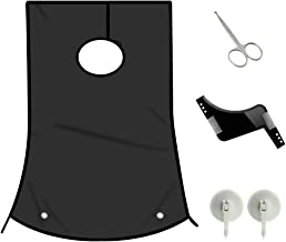 1DOT2 Professional Beard Shaving Apron and bib Hair Clippings Catcher & Grooming Cape Apron + Styling Template + Suction Cups Perfect Gift for Men black