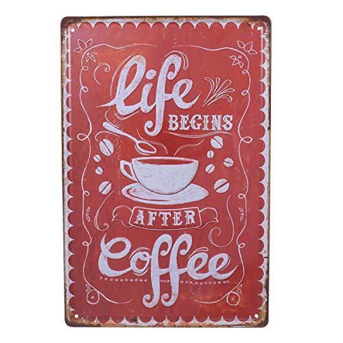 VOSAREA Targhe Vintage Metallo Targa Targhette per Bar Coffee casa (Life Begins)