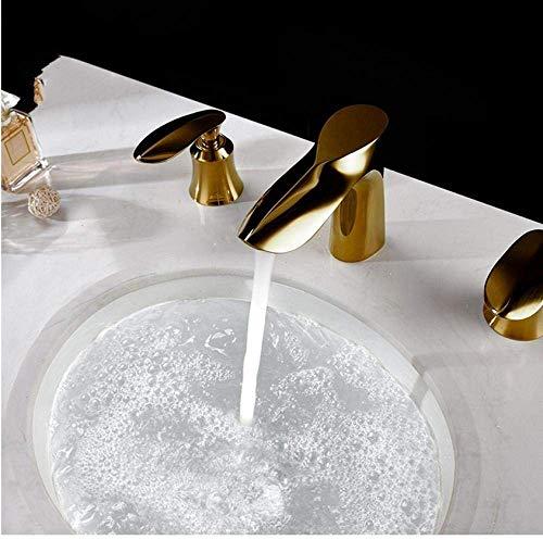 Llave de Paso de Oro Cubierta montó el Grifo de la bañera Set de 3 Agujeros generalizada de hidromasaje Baño Mezclador de Cuello de Ganso baño Conjunto de Ducha con Ducha de Mano Hslywan