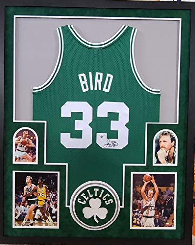 Larry Bird Boston Celtics Signed Autograph Custom Framed Jersey Green Suede Matted Mitchell & Ness Licensed Jersey 4 Picture Steiner Certified