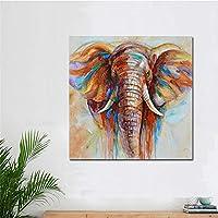 壁アート絵画抽象動物油絵カラフルな象ポスター壁アートキャンバス絵画用リビングルームいいえフレーム,D,60*60CM