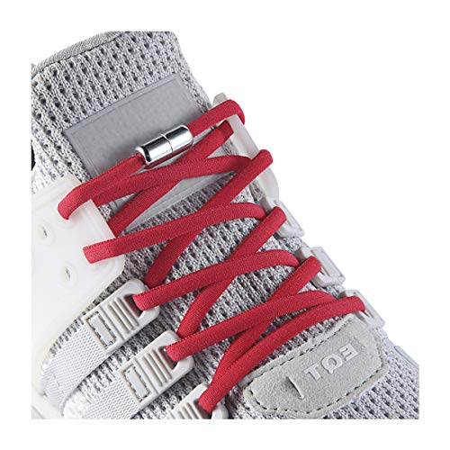 Elastic No Tie Shoe Laces For Adults,Kids,Elderly,System With Elastic Shoe Laces(2 Pairs) Red
