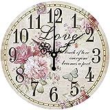 30x30cm la decoración del hogar Grande del Reloj de Pared silencioso del Reloj de Pared de la Vendimia decoración del hogar de la Flor Grande de la Manera del Reloj de Pared del Reloj de Pared