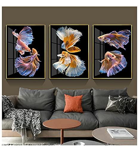 zachking Poster Und Druckt Traditionelle Chinesische Koi Fische Wandkunst Leinwand Schwarz Malerei Abstrakt Tier Wohnzimmer Home Bild Dekor. 50x75cm Framed
