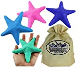 Toysmith Super Stretchy Starfish (Sea Star) Pink, Blue, Green & Purple Gift Set Bundle with Matty's Toy Stop Storage Bag - 4 Pack