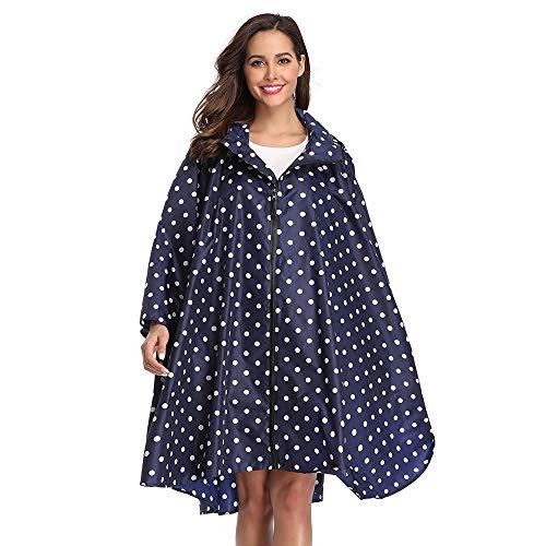 Summer Mae Regen Poncho Jacke Mantel für Erwachsene mit Kapuze wasserdicht mit Reißverschluss im Freien,Einheitsgröße,Blau Punkt
