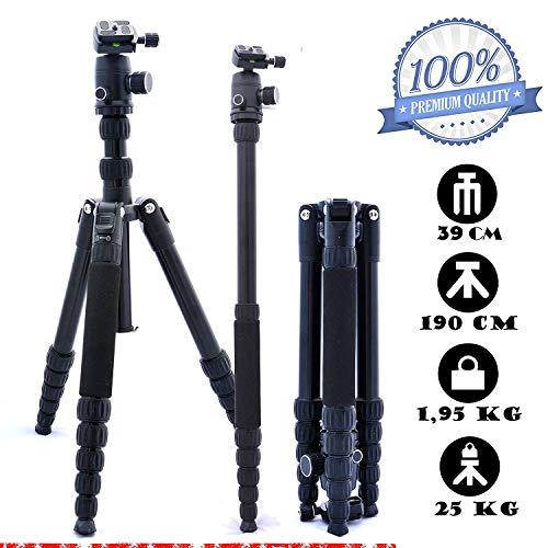 togopod Lukas Foto Reise Kamera Stativ für Canon, Nikon, Sony, Panasonic, Pentax usw. inklusiv 360° Kugelkopf + Tasche + Schnellwechselplatte. (max. Höhe 190cm, Tragfähigkeit 25kg, Gewicht 1,95 kg)