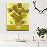 ganlanshu Pintor holandés Famoso Girasol Pintura al óleo póster de Pared Arte para Sala de Estar decoración del hogar,Pintura sin Marco,30X40cm