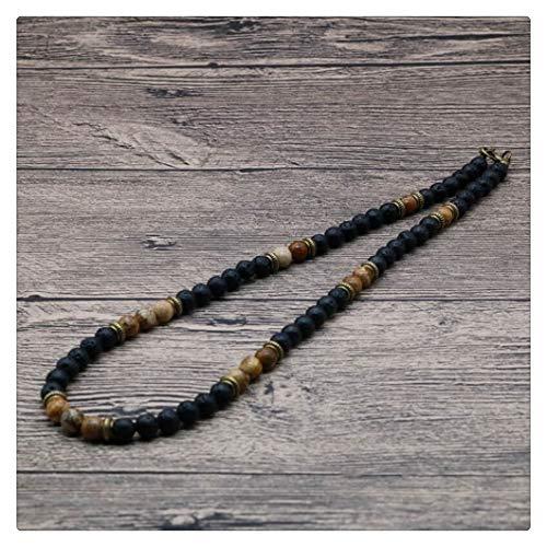 FKJSP Hombres rústico de la Vendimia Collar de Perlas Naturales de Piedra de Lava Gargantilla Collar for los Hombres/Mujeres joyería Tribal Regalos for él (Metal Color : 6mm Lava)