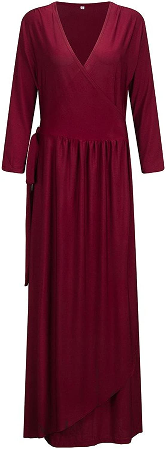 Beauty7 Women's Solid VNeck 3 4 Sleeve Plus Size Evening Party Maxi Dress