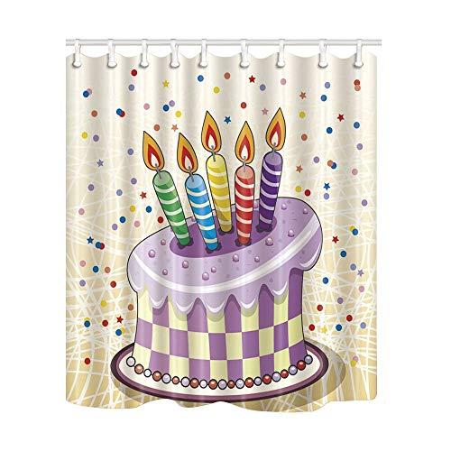 JoneAJ Kerzen auf lila Kuchen Duschvorhang 3D-Druck Wasserdicht beschichtetes Bad aus Polyestergewebe mit 12 Haken 71 Zoll