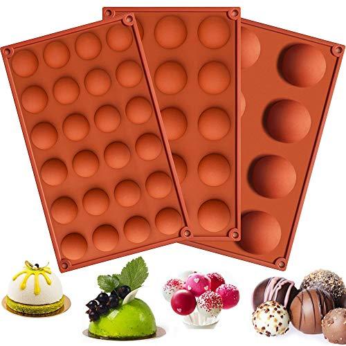AODOOR 3 Stück Halbkugel-Silikonform, Silikonformen mit 8/15/24 Hohlräumen, Silikon Backform für Mousse/Schokolade/Gelee/Kuchen/Bonbon(Kaffeebraun)