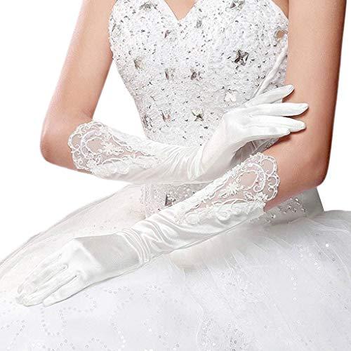 Novia Dedo completo Guantes blancos largos Vestido de novia Accesorios Guantes de...