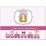 16 Einladungskarten zum 1. Kindergeburtstag für Mädchen rosa - Einladungen für Kinder zum Geburtstag im Set