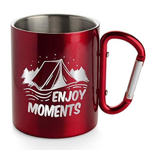 Creativgravur® Doppelwandige Edelstahl Tasse 280 ml Thermobecher mit Karabinerhaken - leicht für Camping oder Outdoor, Farbe:Rot, Motiv (Größe):Motiv 03