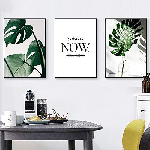 MYSY Blätter Poster Monstera Tropische Pflanze Leinwand Gemälde Botanische Drucke Blatt Wandkunst Bild Wohnzimmer Schlafzimmer Decor-40x60cmx3 pcs kein Rahmen
