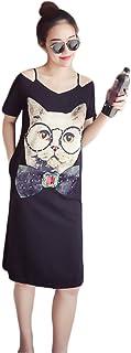 ulricar ワンピース ロンティー Tシャツ 半袖 レディース 肩出し 猫柄 ストライプ プリント キャミソール ボートネック おしゃれ カジュアル