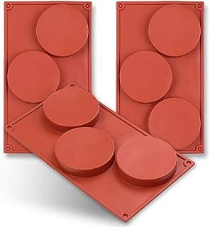 homEdge 3-Cavity Disc Shape Silicone Mold, 3 Packs Disc Cake, Gustard, Resin Coaster, Tart, Handmade Soap Molds-Brown