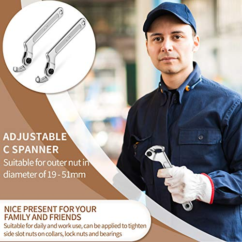 2 Pieces Adjustable C Spanner Chromium Vanadium C Spanner Adjustable Hook Wrench Applied to Tighten Side Slot Nuts on Collars, Lock Nuts and Bearings 3/4-2 Inch (19-51mm)