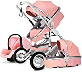 LJYT Pram 3 in 1 Travel System Baby,High Landscape Baby Stroller,Compact Pushchair Stroller,Include Storage Basket, Large Seat Area for Walking ,Traveling and Shopping (Color : Pink) (Color : Pink)