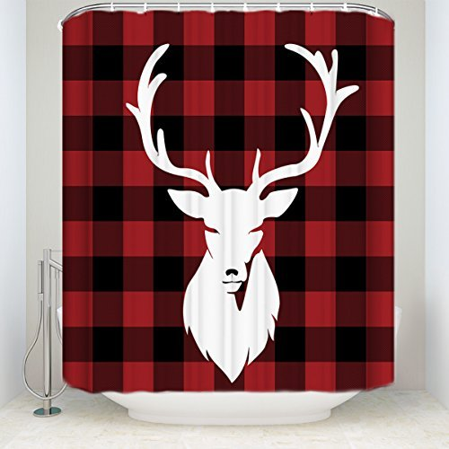 """Libaoge Red Black Buffalo Shower Curtains Set Check Plaid Deer Head Soap Free Waterproof Polyester Fabric Bathroom Shower Curtain… - Come with Hooks 72"""" W x 72"""" H"""