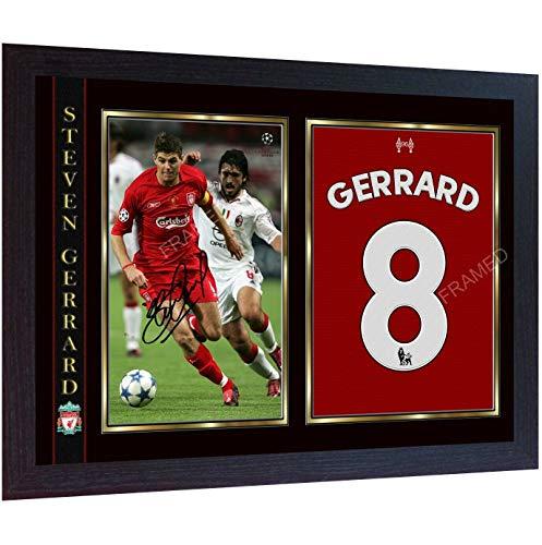 Gerahmtes Poster 2005 Steven Gerrard Final Champions signiert mit Autogramm Ronaldo Juve Foto gerahmt Vordruck Poster MDF Rahmen Fußball #2