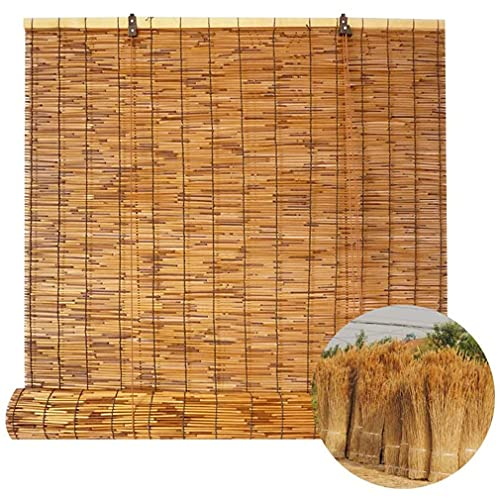 Persianas enrollables de ventana,persiana enrollable de bambú,cortina de caña natural, persianas romanas retro impermeables con elevación,parasol/aislamiento térmico,para interiores,exteriores,patio.