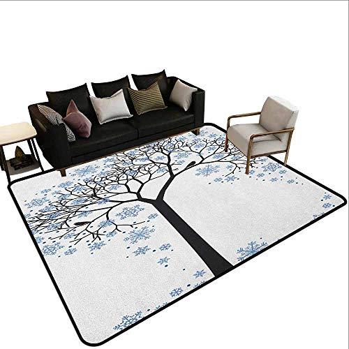 MsShe tapijt Winter, Barren Boom Silhouette Sneeuwvlok Bladeren Hand getrokken Interpretatie Sneeuwseizoen, Blauw Zwart Wit