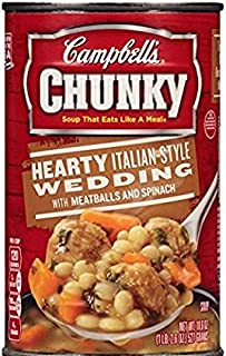 Campbell's Chunky Hearty Italian Style Wedding Soup with Meatballs & Spinach (Pack of 6) 18.6 oz Cans