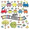 誕生日☆シール式ウォールステッカー 誕生日 birthday 飾り 90×90cm ケーキ ガーランド バースデーパーティ飾り 風船 バルーン 壁紙 お祝い 電車 乗り物 男の子 017016
