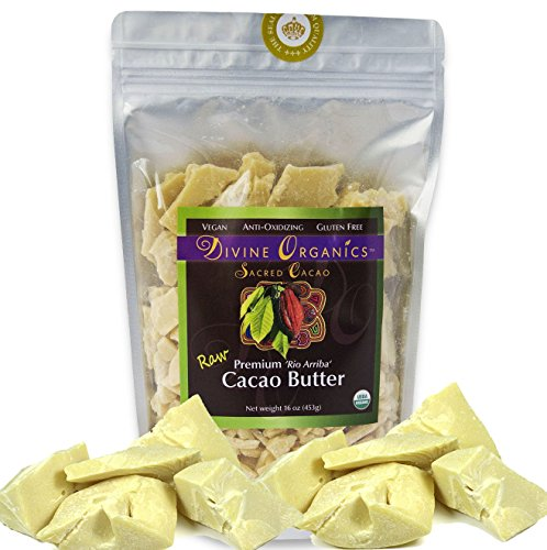 Divine Organics Raw Cacao Butter / Cocoa Butter - Certified Organic - Food Grade - Edible - Fragrant, Natural Skin Moisturizer (16 oz)