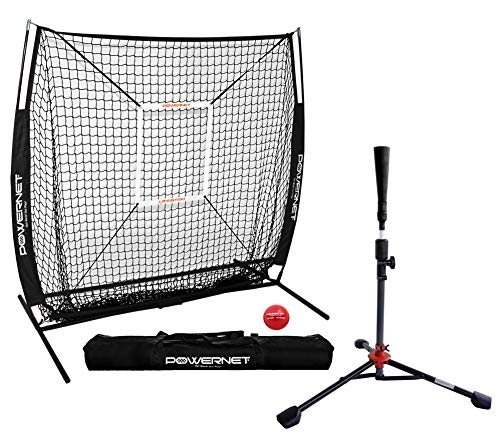 PowerNet 5x5 Practice Net  Deluxe Tee  Strike Zone  Weighted Training Ball Bundle Black | Baseball Softball Pitching Batting Coaching Pack | Work on Pitch Accuracy | Build Plate Confidence