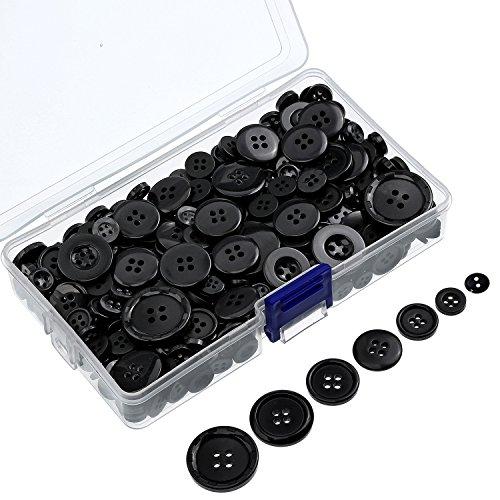 400 Pezzi Bottoni Resina Bottoni Rotondo da Cucire Mestiere Bottoni con Scatola di Stoccaggio per San Valentine, 2 e 4 Fori, Dimensioni Assortite (Nero)