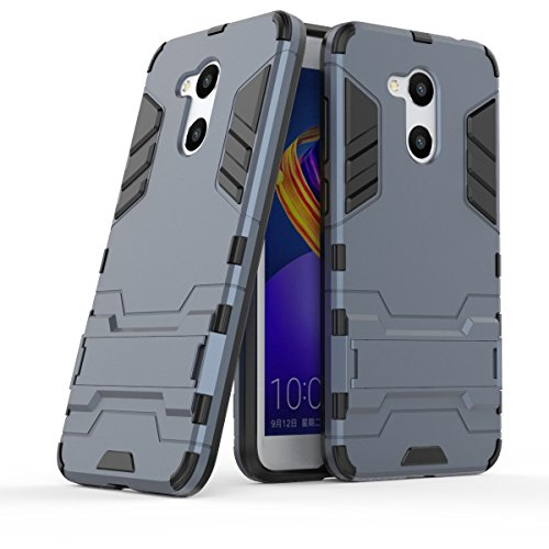 Huawei Honor 6C Pro Hülle, MHHQ Hybrid 2in1 TPU+PC Schutzhülle Rugged Armor Hülle Cover Dual Layer Bumper Backcover mit Ständer für Huawei Honor 6C Pro/Honor V9 Play -Black Plus Gray