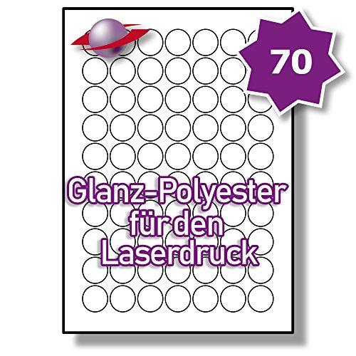 70 Pro Blatt, 5 Blätter, 350 Etiketten. Label Planet® A4 Runden Glänzend Transparente Polyester Etiketten Für Laserdrucker 25mm Durchmesser , LP70/25 R GTP.