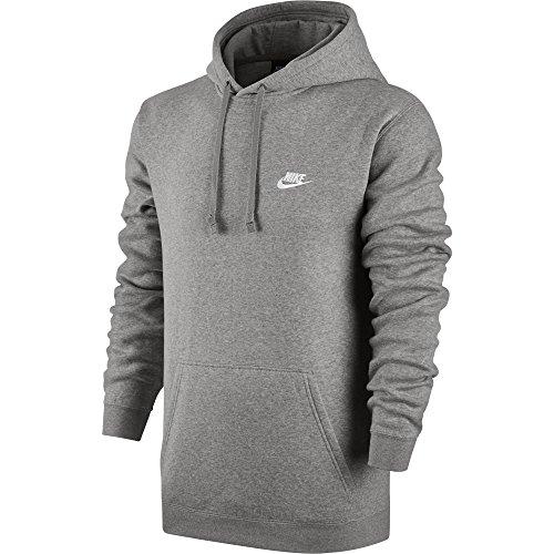 NIKE Sportswear Men's Pullover Club Hoodie, Light Grey Heather/Light Grey Heather/White, Small