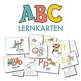 ABC-Lernkarten der Tiere, Bildkarten, Wortkarten, Flash Cards mit Groß- und Kleinbuchstaben | Lesen lernen mit Tieren für Kinder im Kindergarten und ... cm),...
