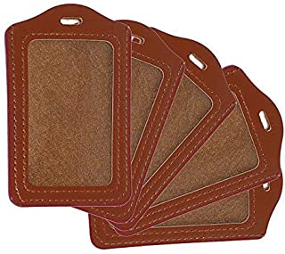 WeKonnect; PU Leather Clear ID Window ID Badge Holder | Vertical ID Card Holder for Office, Colleges and Schools (Vertical...