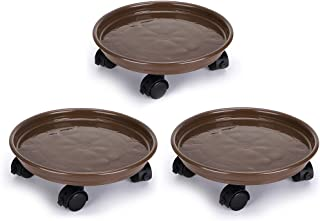 """Skelang 3-Pack 11.8"""" Plant Caddy Plant Stand Plant Pallet with 4 Brake Wheels, Moving Plant Pot Saucer, Plant Tray Trolley with Casters, Plant Roller Dolly, for Indoor or Outdoor Heavy Duty Planter, L"""