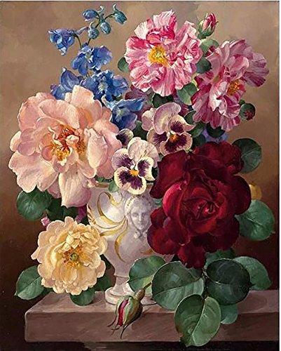 Fuumuui DIY Malen Nach Zahlen-Vorgedruckt Leinwand-Ölgemälde Geschenk für Erwachsene Kinder Kits Home Haus Dekor - Blumen Verschiedene 40*50 cm
