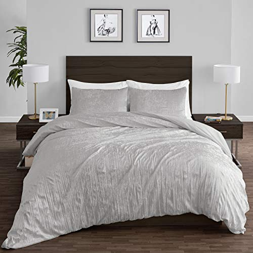 Crushed Crinkle Velvet Grey Metallic Crush Boho Chic Textured Glam Gray Silver Duvet Comforter Cover and Sham 3p Full Queen Size Bedding Set Solid Shiny Luxury Modern Bohemian Teen Bed Bedspread Quilt