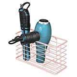 styling tools organizer - mDesign Farmhouse Metal Wire Bathroom Wall Mount Hair Care & Styling Tool Organizer Storage Basket for Hair Dryer, Flat Iron, Curling Wand, Hair Straightener, Brushes - Holds Hot Tools - Light Pink