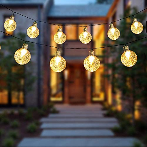 Bumplebee Solar String Lights Outdoor, 30 LED 6.5M/21Ft Waterproof 2 Modes Solar Fairy Lights Outside/Inside Lighting for Garden, Trees, Patio, Christmas, Weddings, Parties (Warm White)
