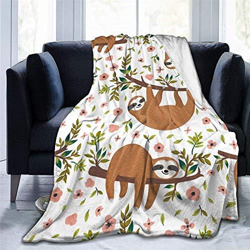 Chickwin Flanelldecke Kuscheldecke, 3D Süßes Tier Super Soft Weiche Wohndecke Warm Flauschige Decke TV-Decke Mikrofaserdecke Sofadecke oder Bettüberwurf Tagesdecke (Gelbes Faultier,150x200cm)