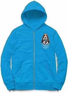 Fox Republic ハウンドドッグ 浮世絵 ポケット 犬 オーシャンブルー キッズ パーカー シッパー スウェット トレーナー 130cm